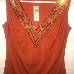NWT Cache orange w/ Sequin top Small